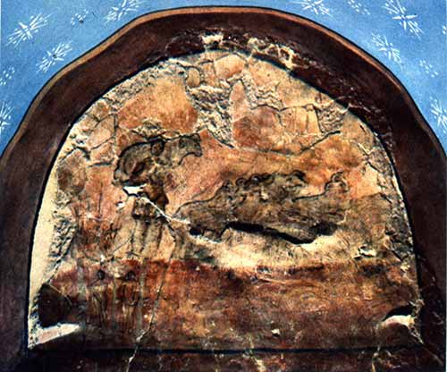 The Good Shepherd. 3rd cent. fresco in the House Church of Dura Europas