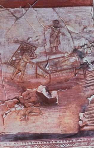 Jesus heals the paralytic. 3rd cent. fresco in the House Church of Dura Europas