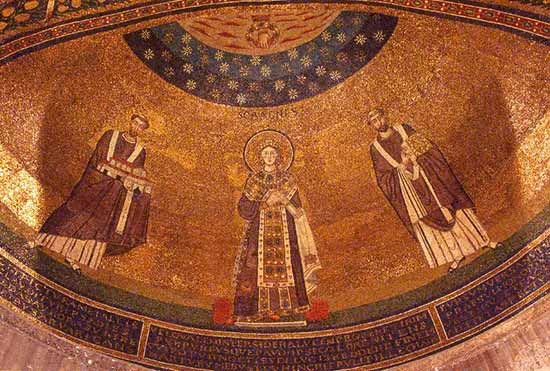 7th cent apse mosaic of S Agnese fuori le mura, Rome