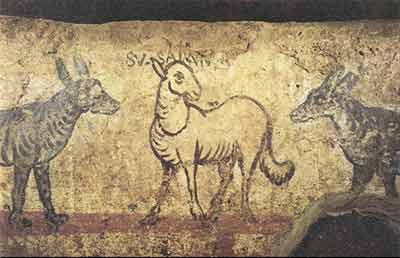 Susanna depicted as a lamb among wolves (the elders)