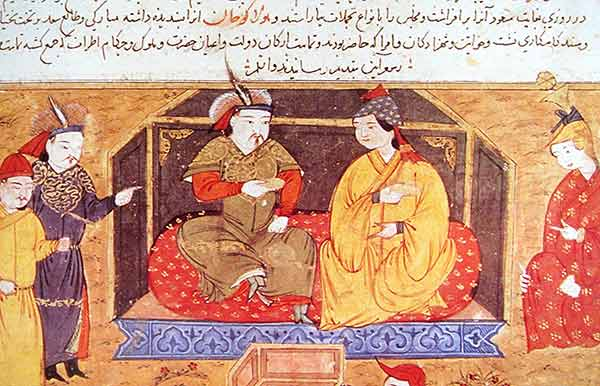 Hulegu Khan with his Christian queen Doquz Khatun
